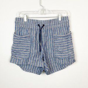 Athleta striped tie waist pull on shorts blue 2